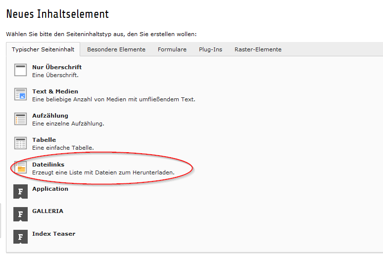 Element für eine Downloadliste